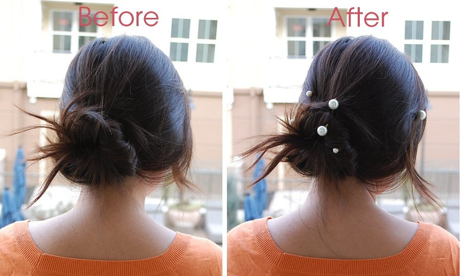 with and without pearl pins in hair