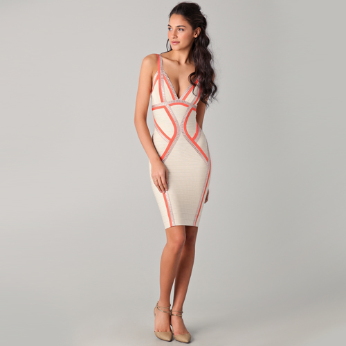 1860029feb Herve Leger V Neck Dress with Piping. Tulisa Herve leger birthday dress pink