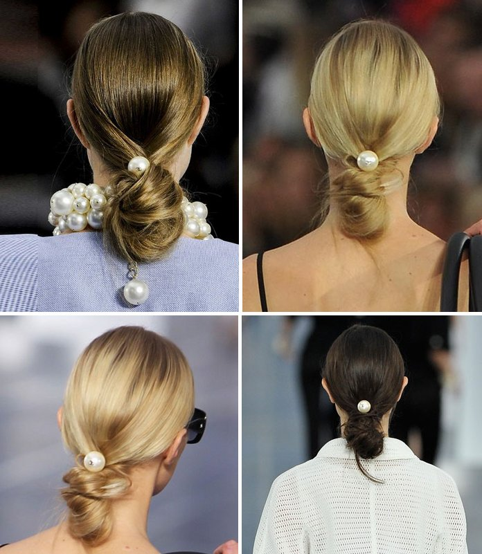 Chanel 2013 Spring Summer runway hair Big pearl