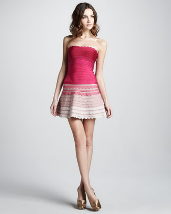 Pink scalloped Herve Leger dress ombre skirt