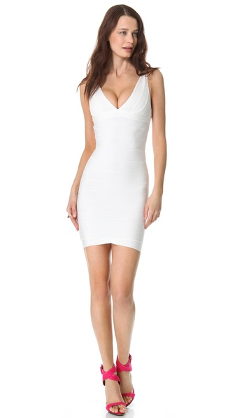 v neckline Herve Leger dress