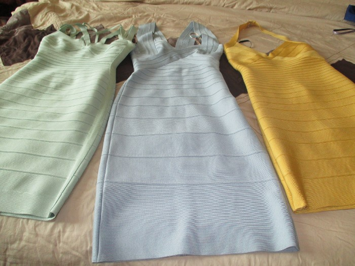 Herve Leger pastel bodycon dress collection