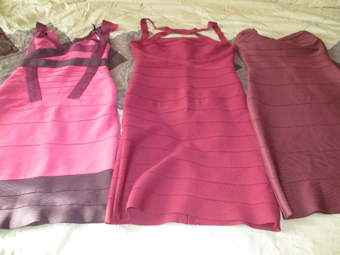 Herve Leger red pink dresses