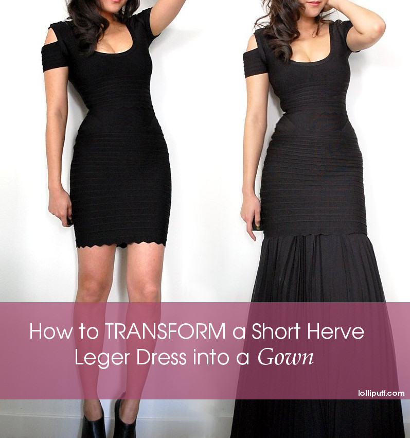 wearing short herve leger dress with black maxi skirt transformation