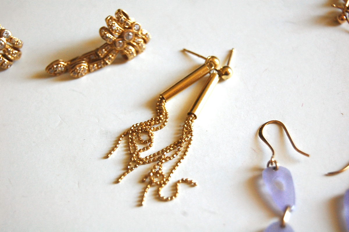 long gold dangle 14k earrings