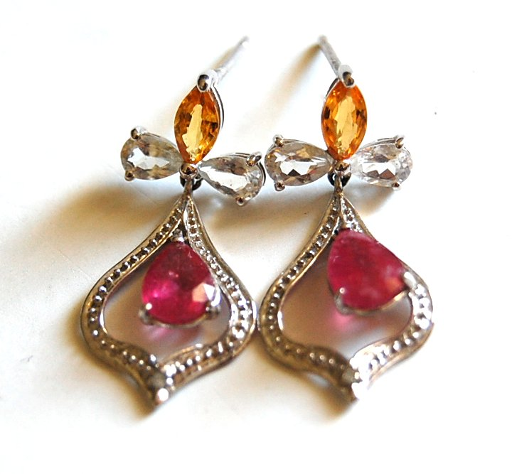 pink yellow white stone gem drop earrings