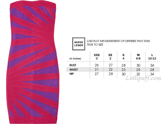 Measurements guide for Herve Leger