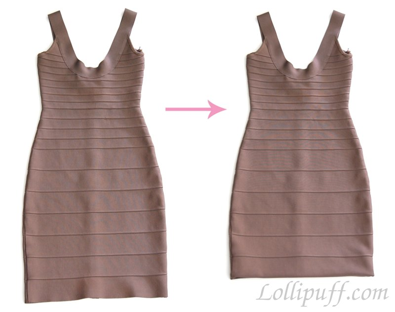 how to shorten tight bandage dress tutorial