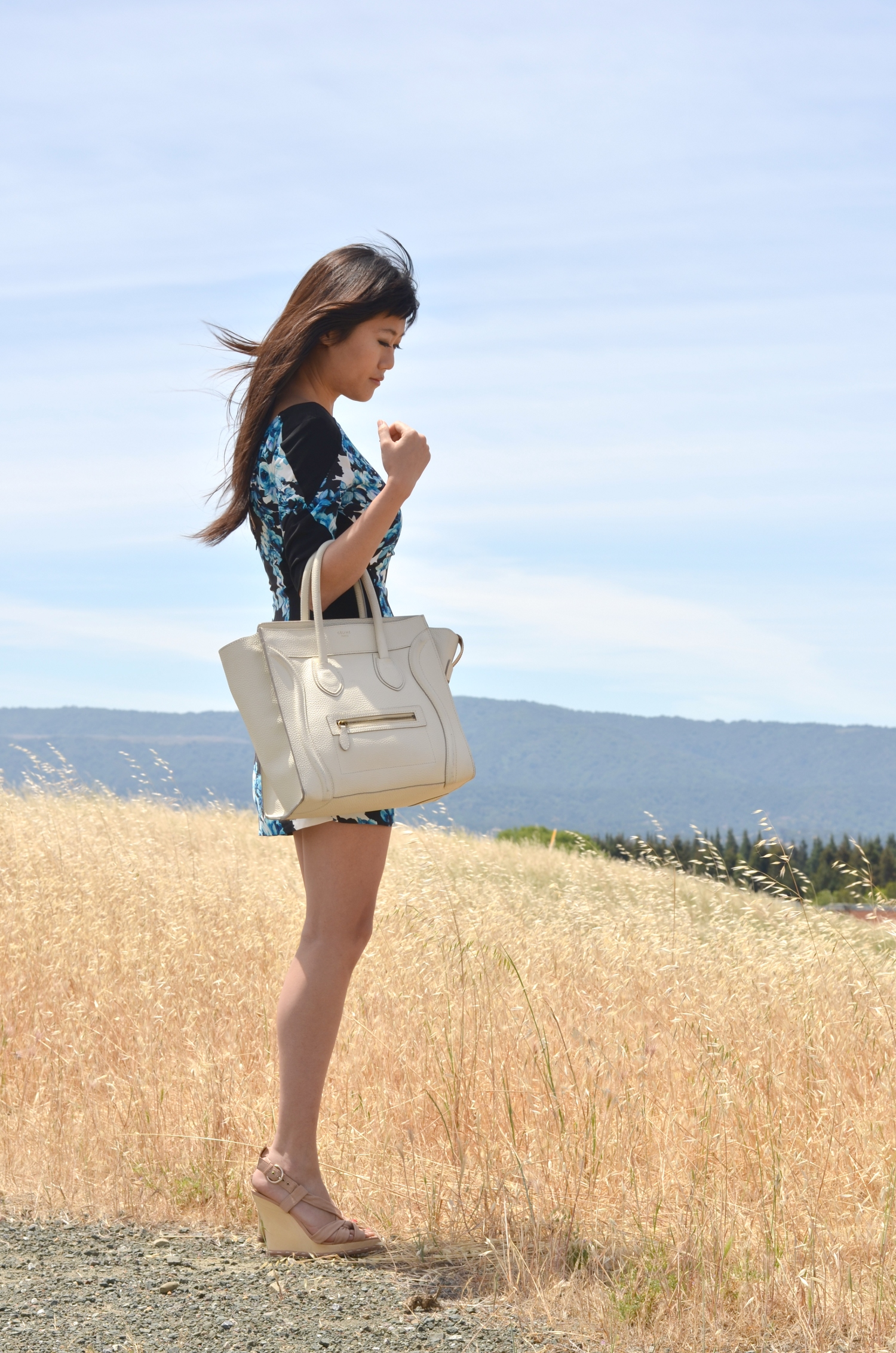 white ivory pebbled drummed celine mini bag outfit wedges mini dress with short sleeves