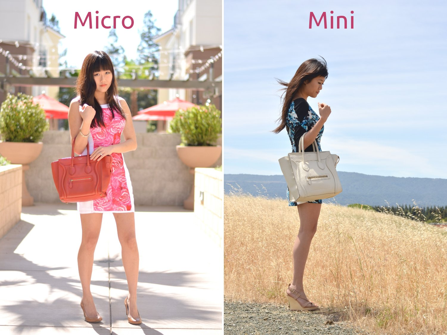 celine designer sve3  Celine designer bag mini compared to micro size difference in outfit