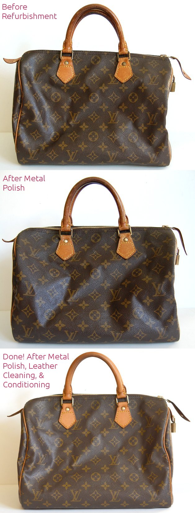 how to lighten louis vuitton leather make metal shiny clean refurbish to newer look