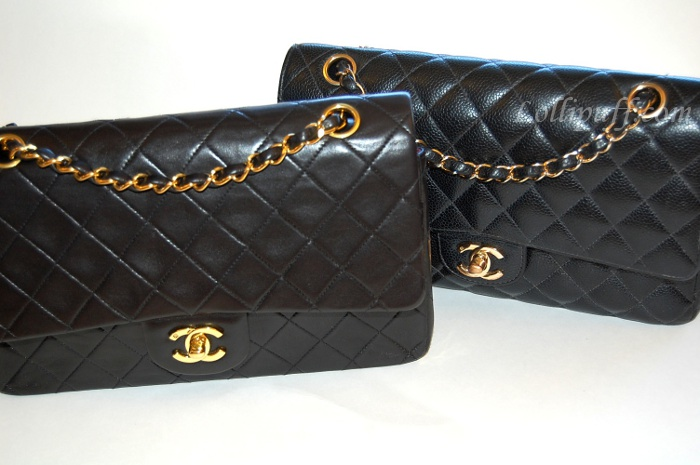 b21a4b9fa94e61 Chanel 2.55 Double Flap: Caviar vs Lambskin | Lollipuff
