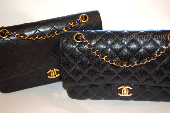 f764855abea9 Chanel 2.55 Double Flap: Caviar vs Lambskin | Lollipuff