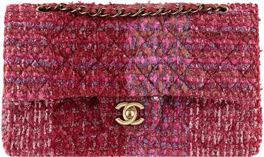 Chanel Bag Pink Pink Tweed Chanel Classic Flap