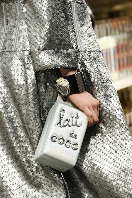 white silver chanel milk carton bag worn 0bef38673613a