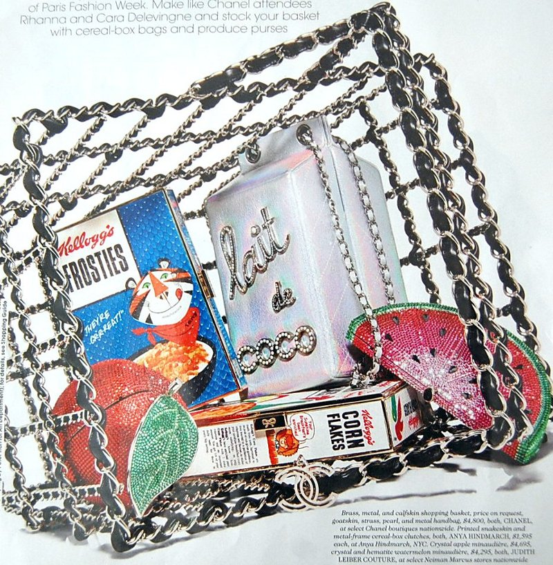 f4ba538a12c541 ... milk carton acrylic bags. chanel shopping basket filled with judith  leiber and anya hindmarch