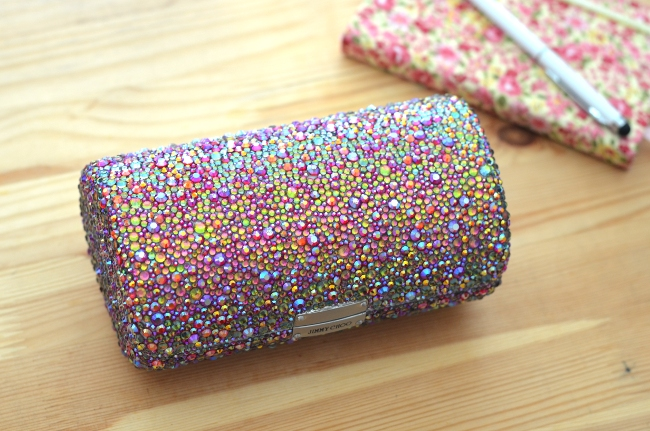 DIY Crystal Covered Clutch Made from a Sunglasses Case Lollipuff
