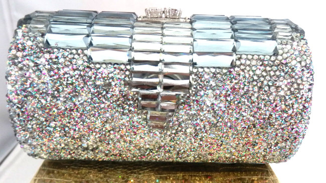 silver swarovski covered strass clutch diy bag