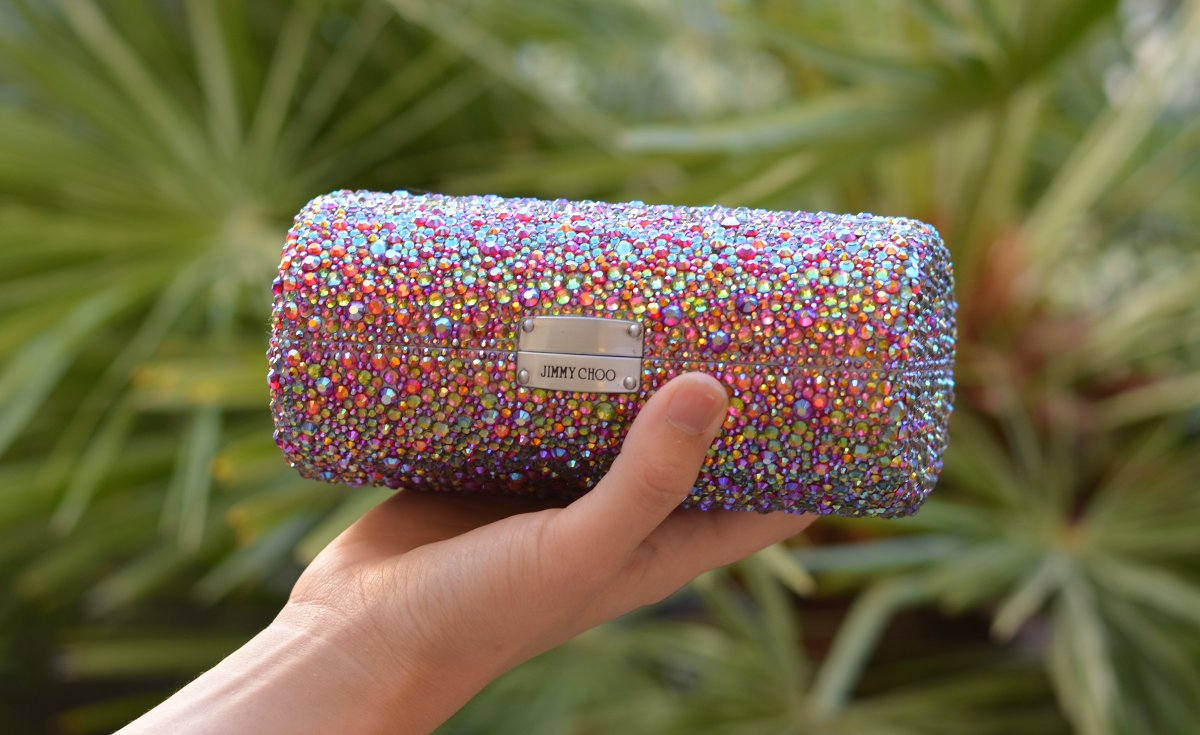 sparkly crystal expensive looking diy craft clutch