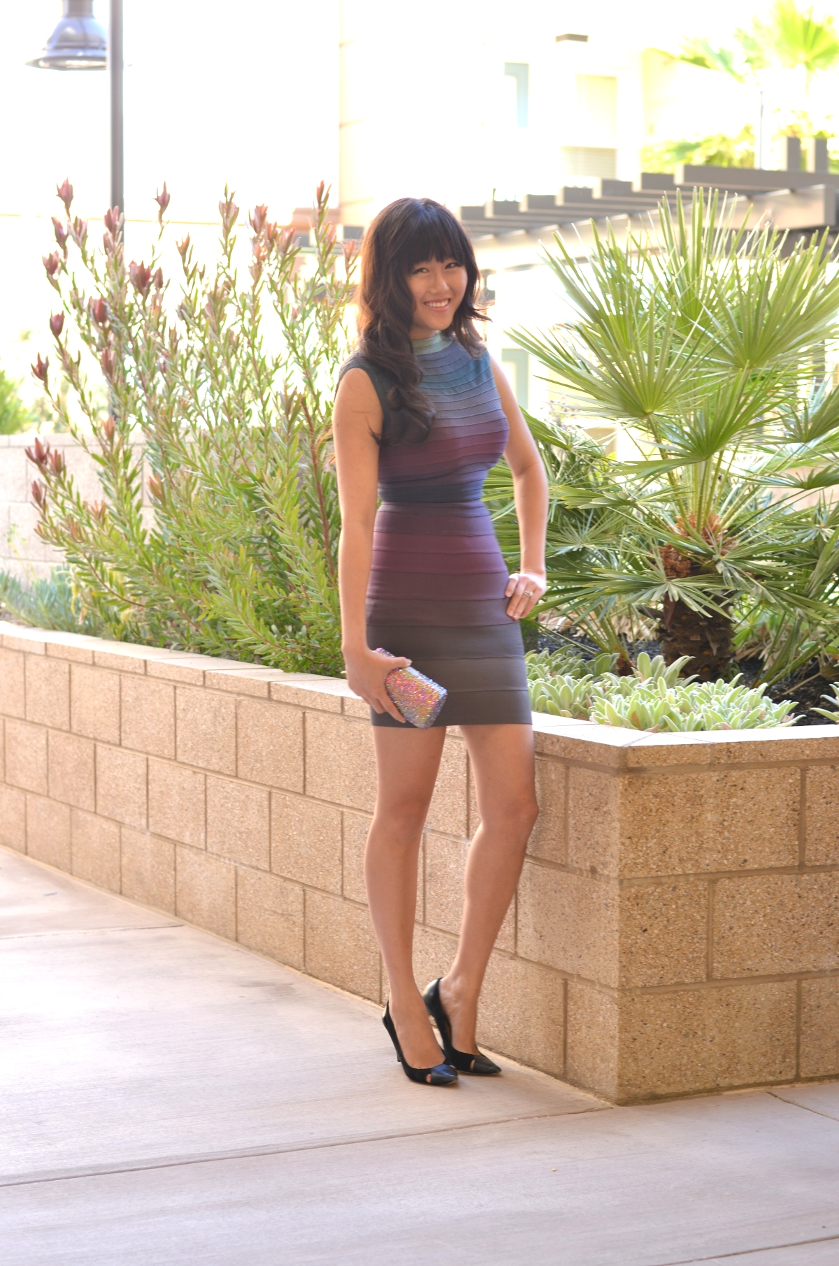 high neck herve leger bandage ombre dress outfit conservative