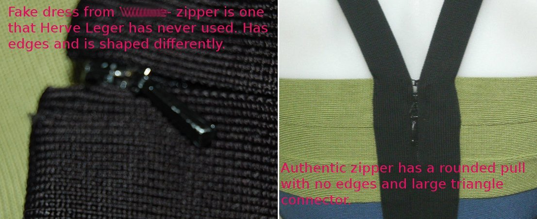 fake and authentic Herve Leger zipper