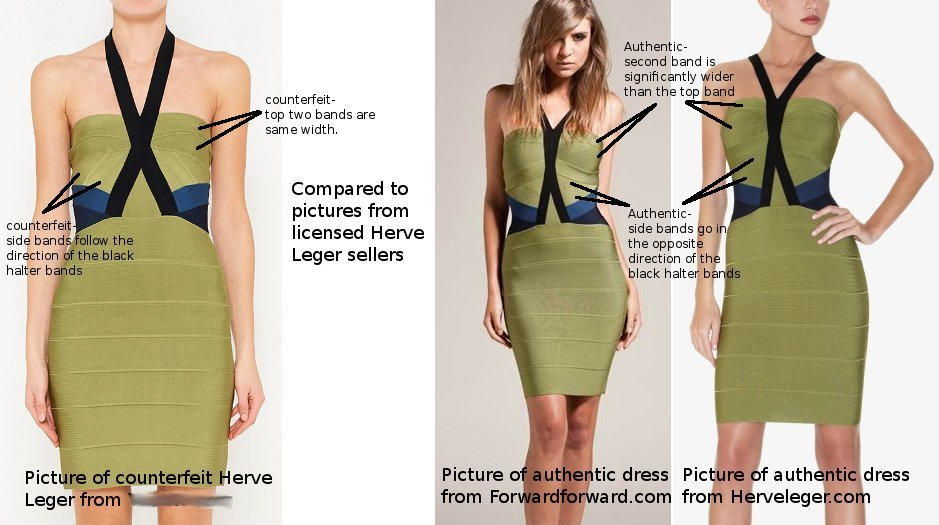 green halter herve leger fake and authentic side by side front