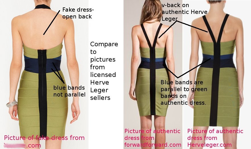 style difference between counterfeit and authentic Herve Leger