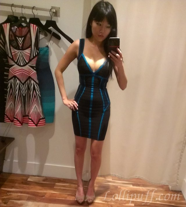 Herve Leger Dress Blue-Trim -- Trying on in the Boutique