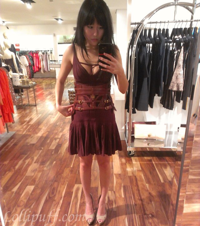 Herve Leger Leather Belt Drop Waist Dress