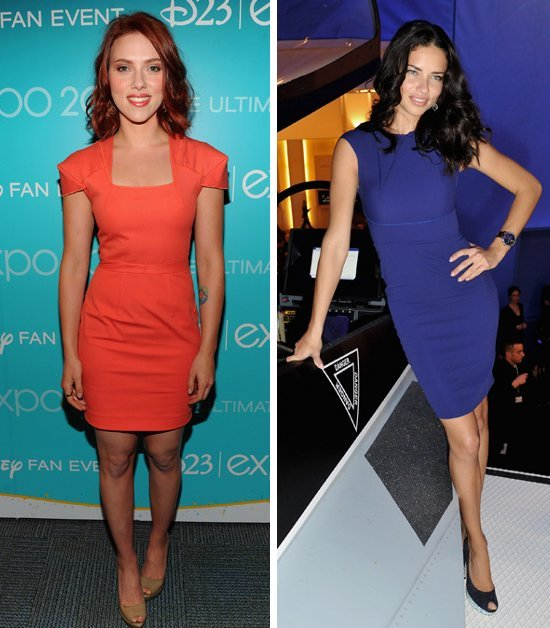 celebrities wearing roland mouret tight fitted perfect cocktail dresses orange blue dress