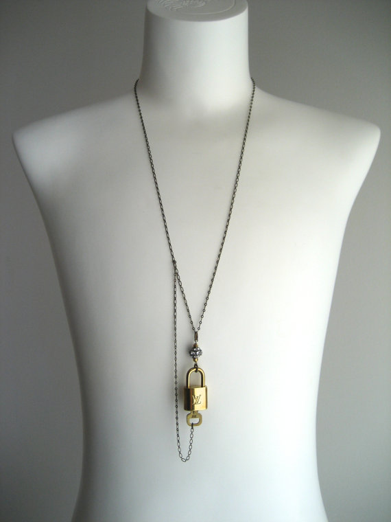 diy make louis vuitton lock key long chain necklace
