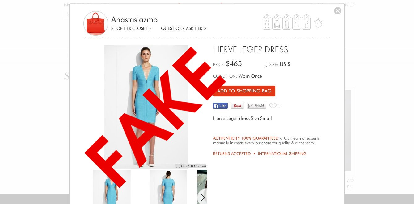fake designer goods being sold as authentic at resale sites