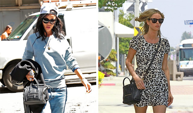 celebrities wearing celine nano luggage smiley face boston shoulder crossbody bag