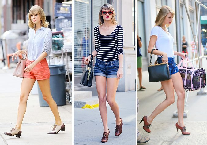 Taylor Swift oxford lace up heels shorts shirt dolce gabbana handbag