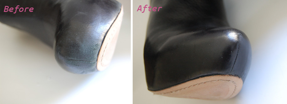 before after scuffed toe on black leather boot fixed