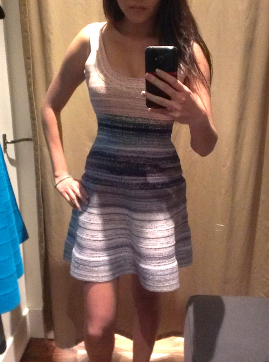 trying on striped a-line herve leger dresses reviews in bcbg max azria store