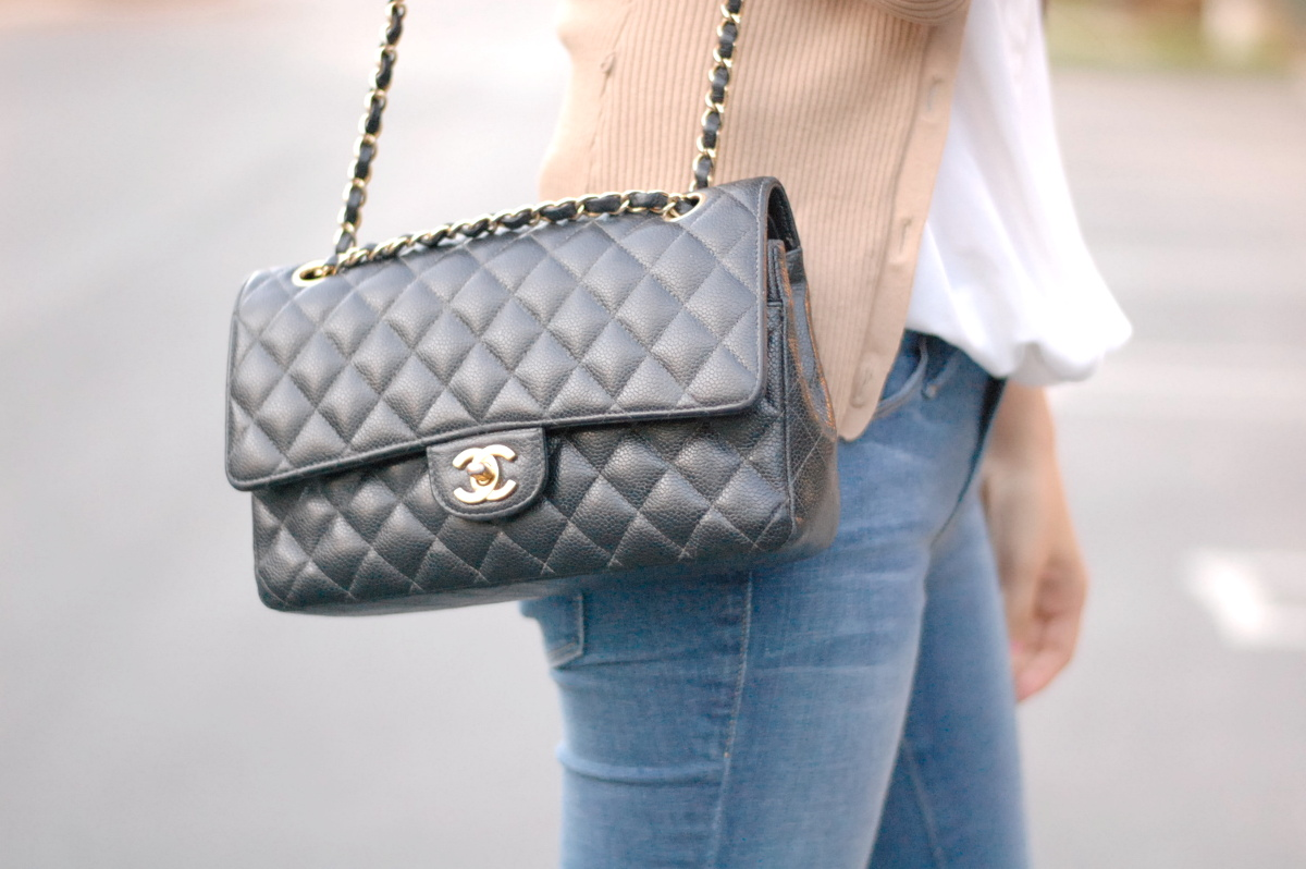 closeup fashion picture of medium Chanel double flap bag