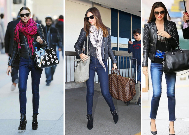 miranda kerr cold weather style leather jacket outfits