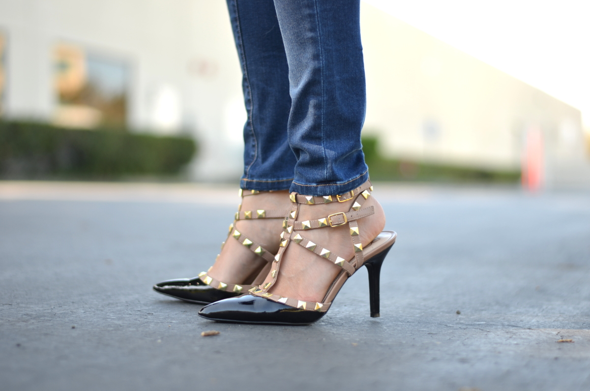 studded caged sandals like Valentino