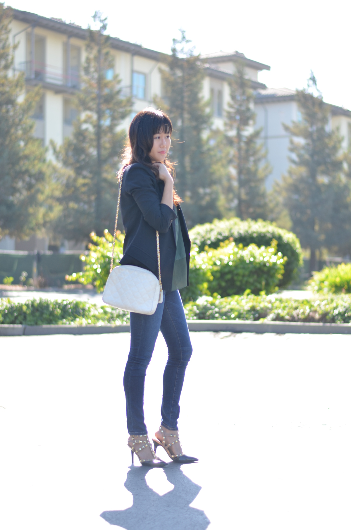outfit with white vintage chanel shoulder bag