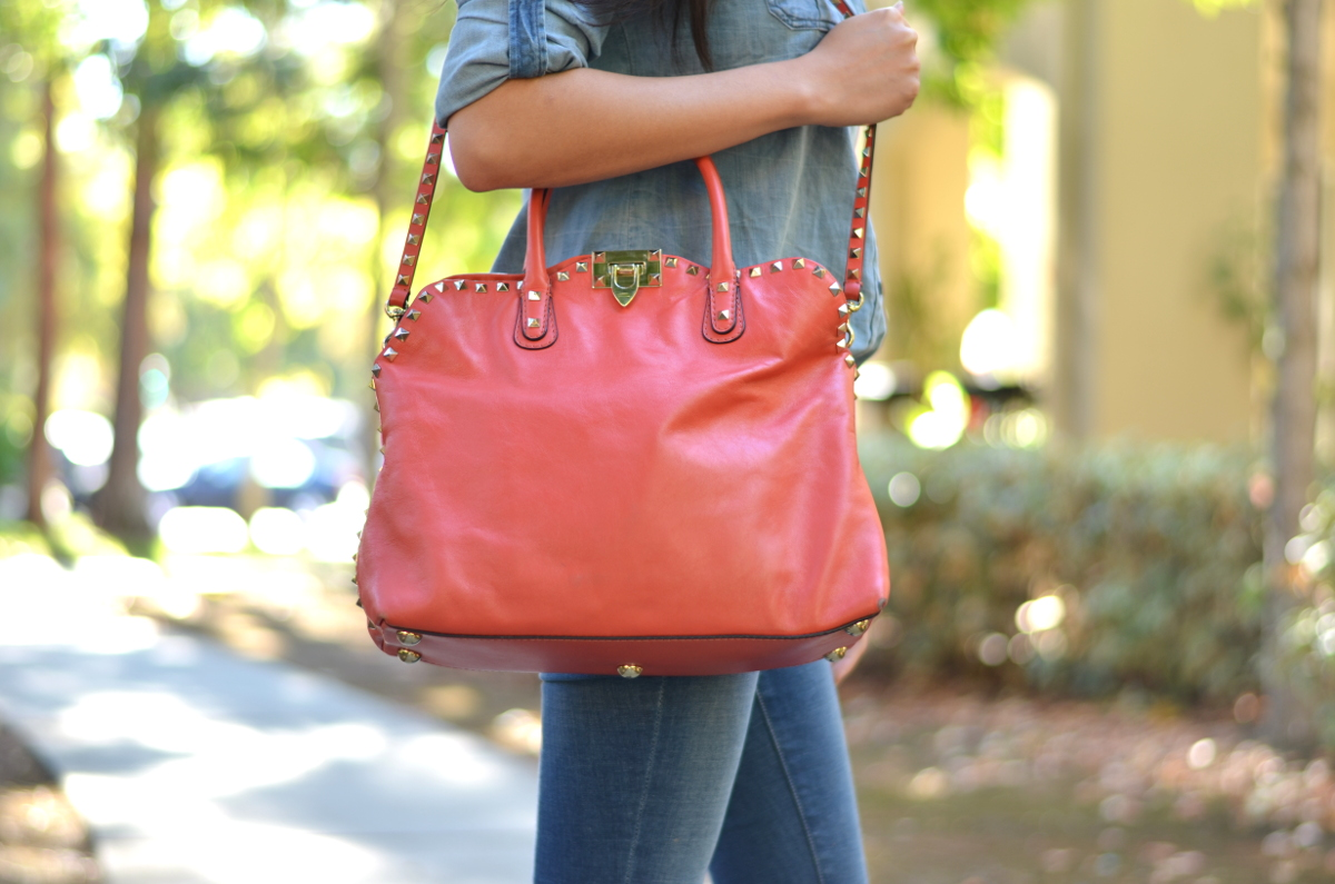 A Beautiful Red Rockstud Valentino Garavani Satchel | Lollipuff