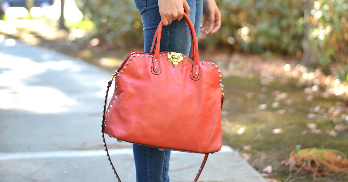 medium large leather red Valentino Garavani bag