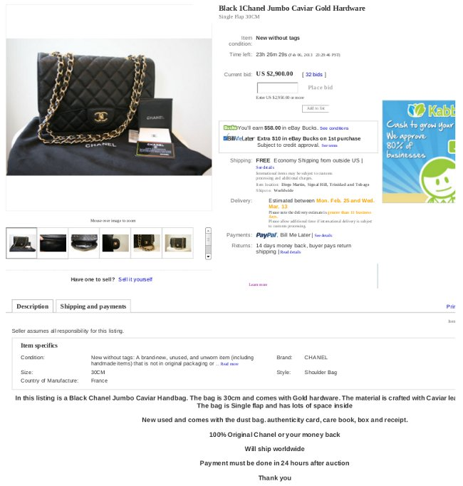 fake caviar chanel 2.55 jumbo bag on eBay 565a7e95bae51