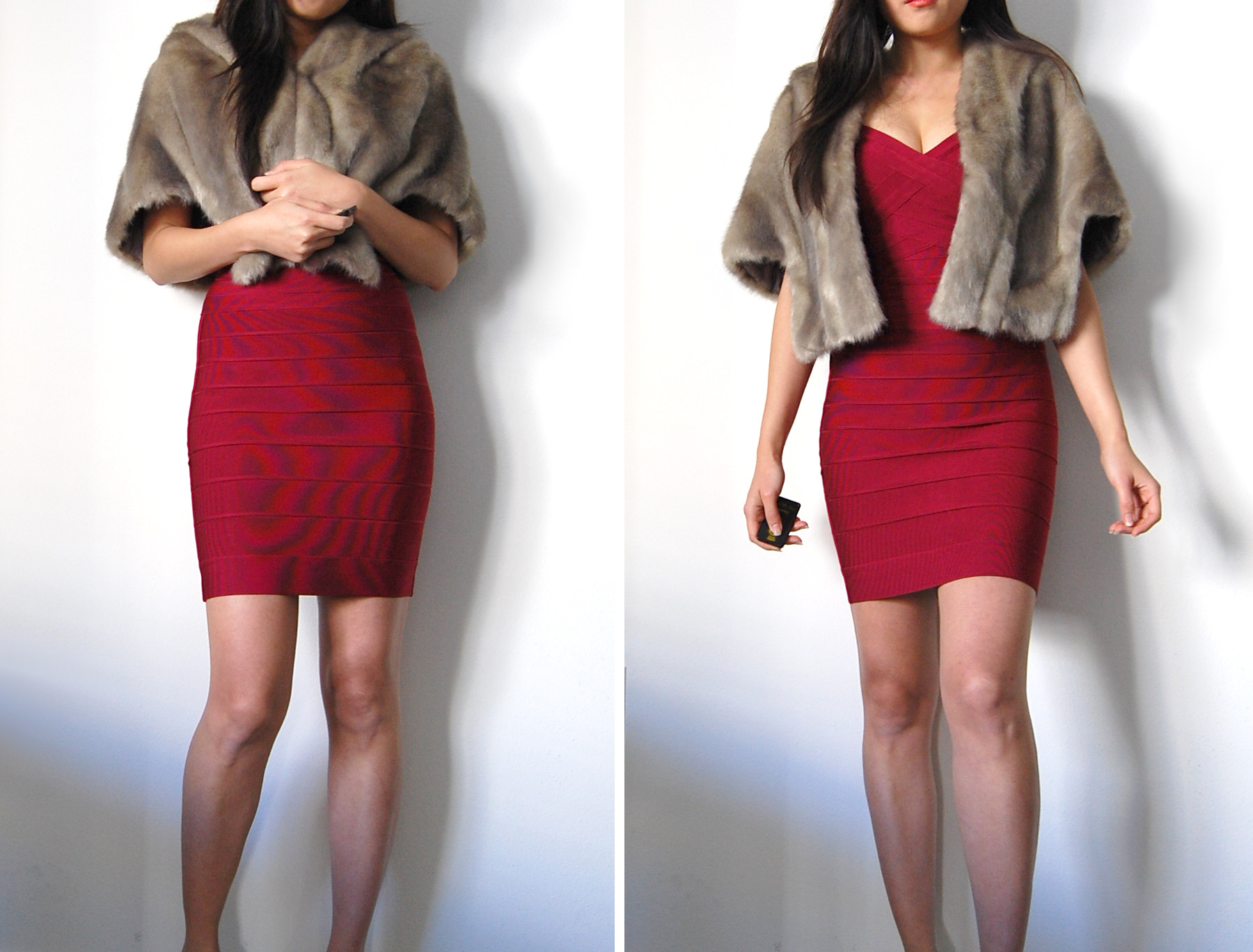 deep red bandage dress warm jacket for cold temperature