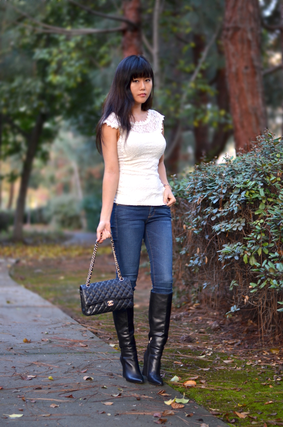 knee wedge boots