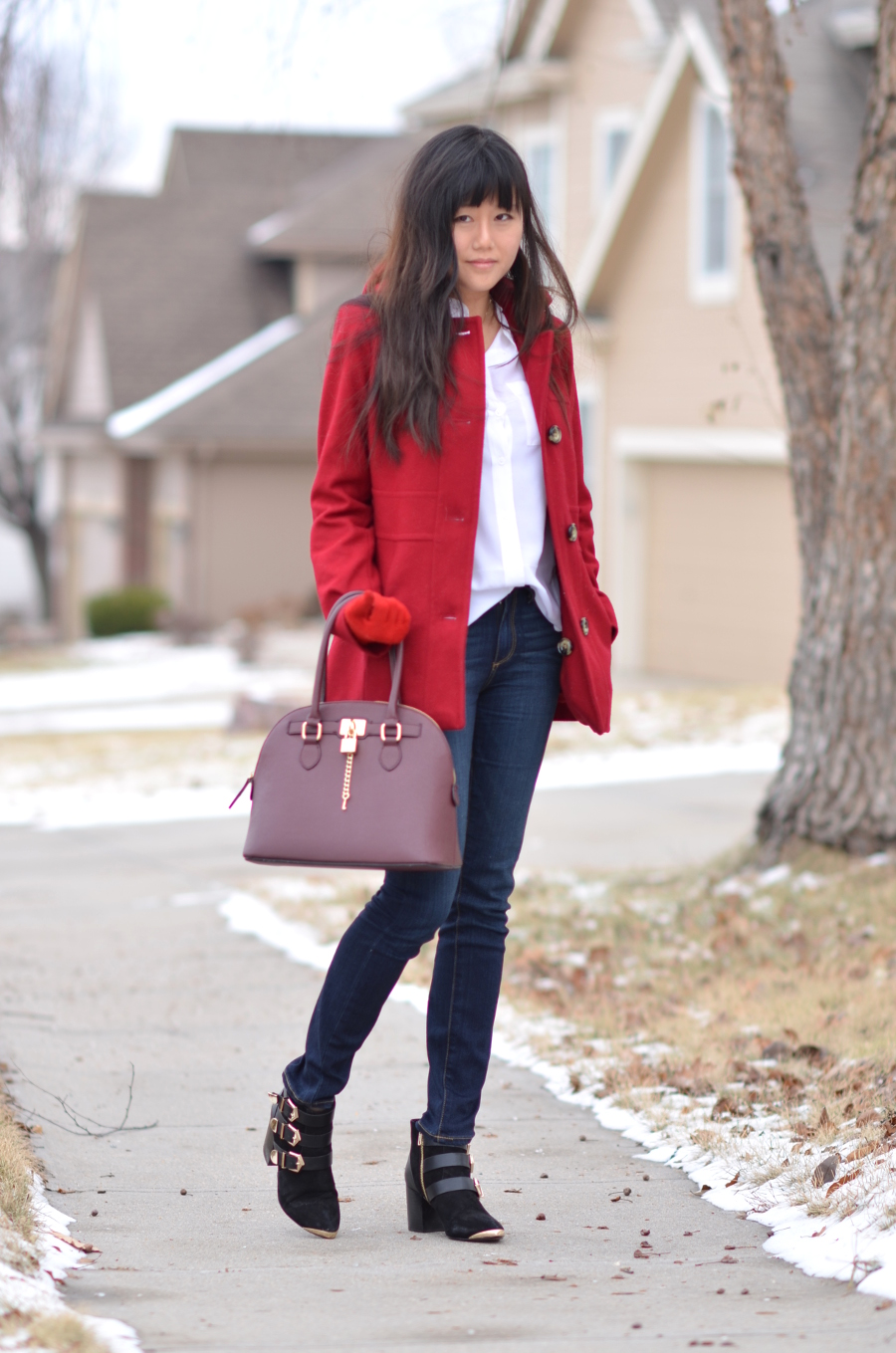 winter snowy red coat outfit