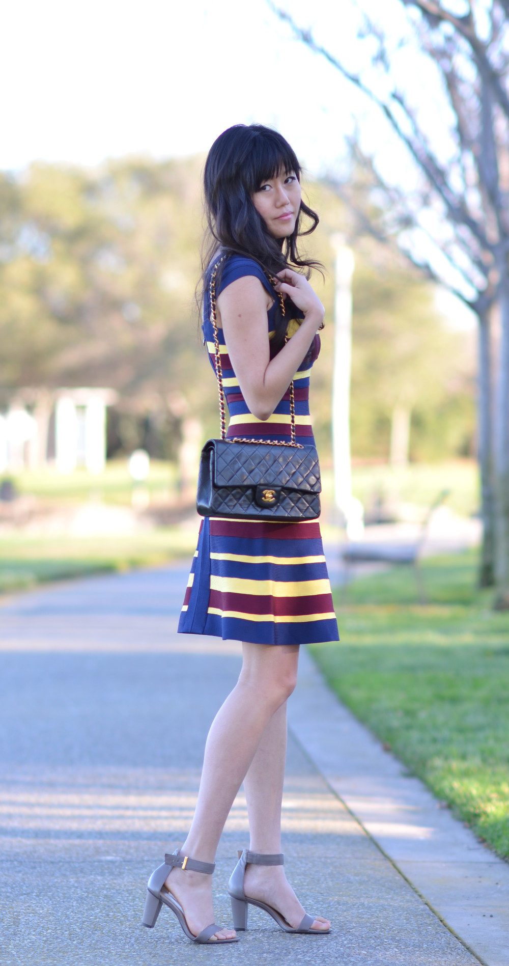 striped herve leger bandage a line casual dress chanel double flap classic bag