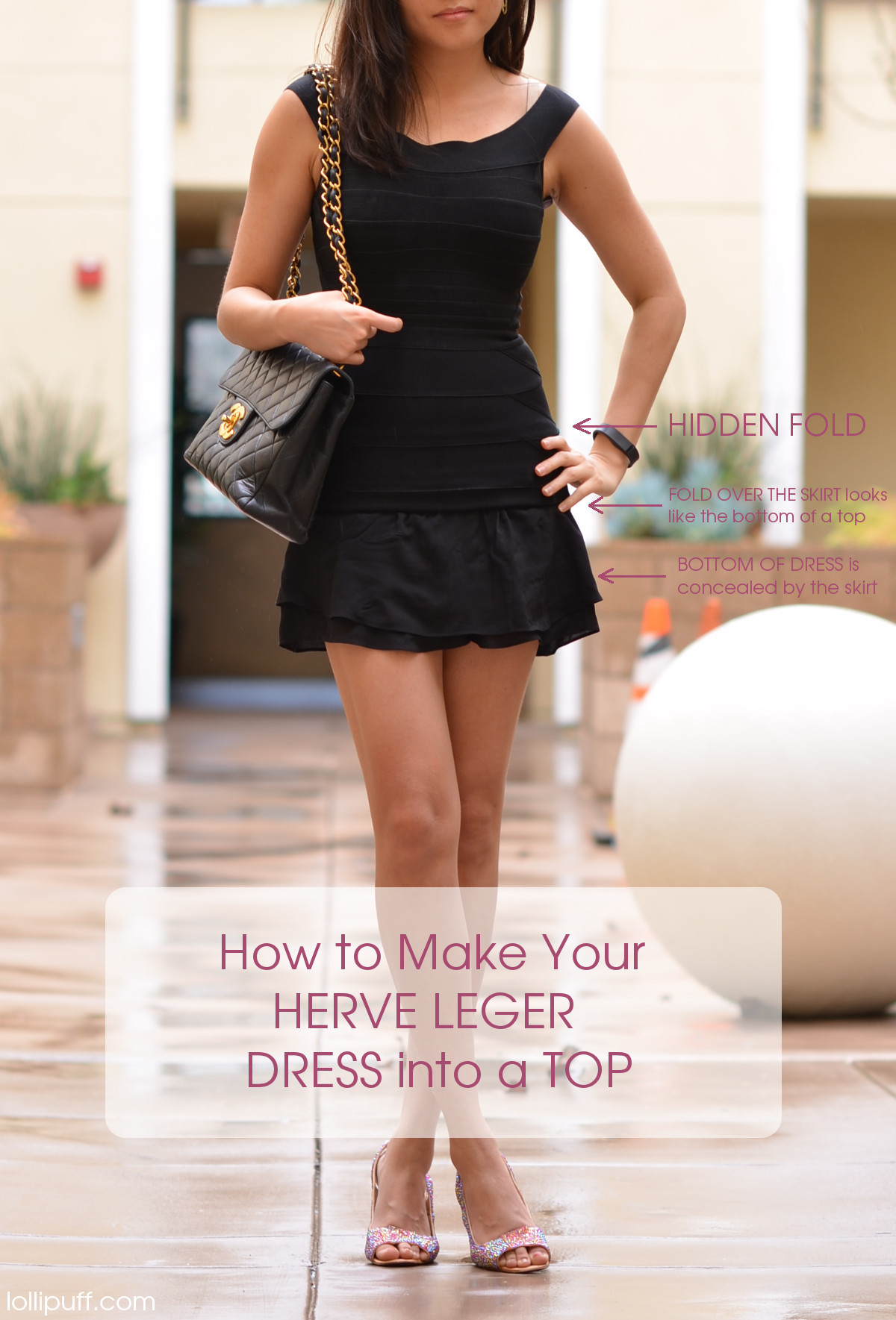 how to wear herve leger dress as casual top