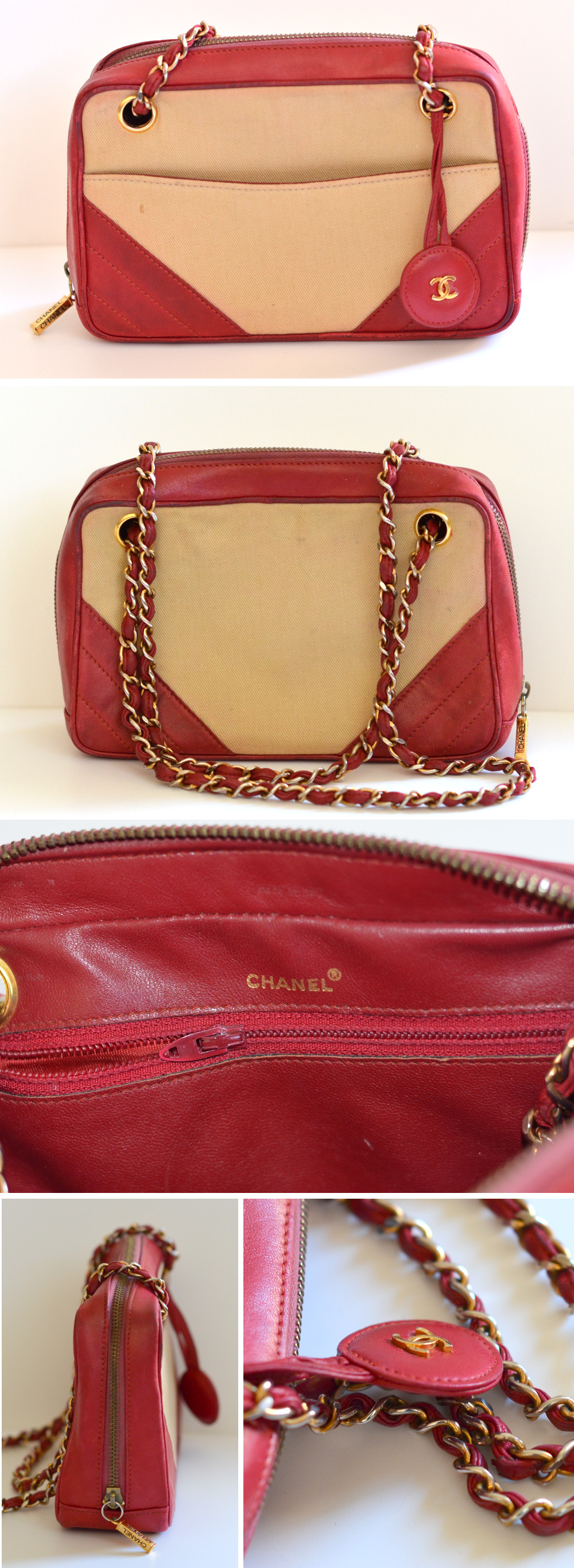 fake vintage Chanel bag features zipper pull stamp