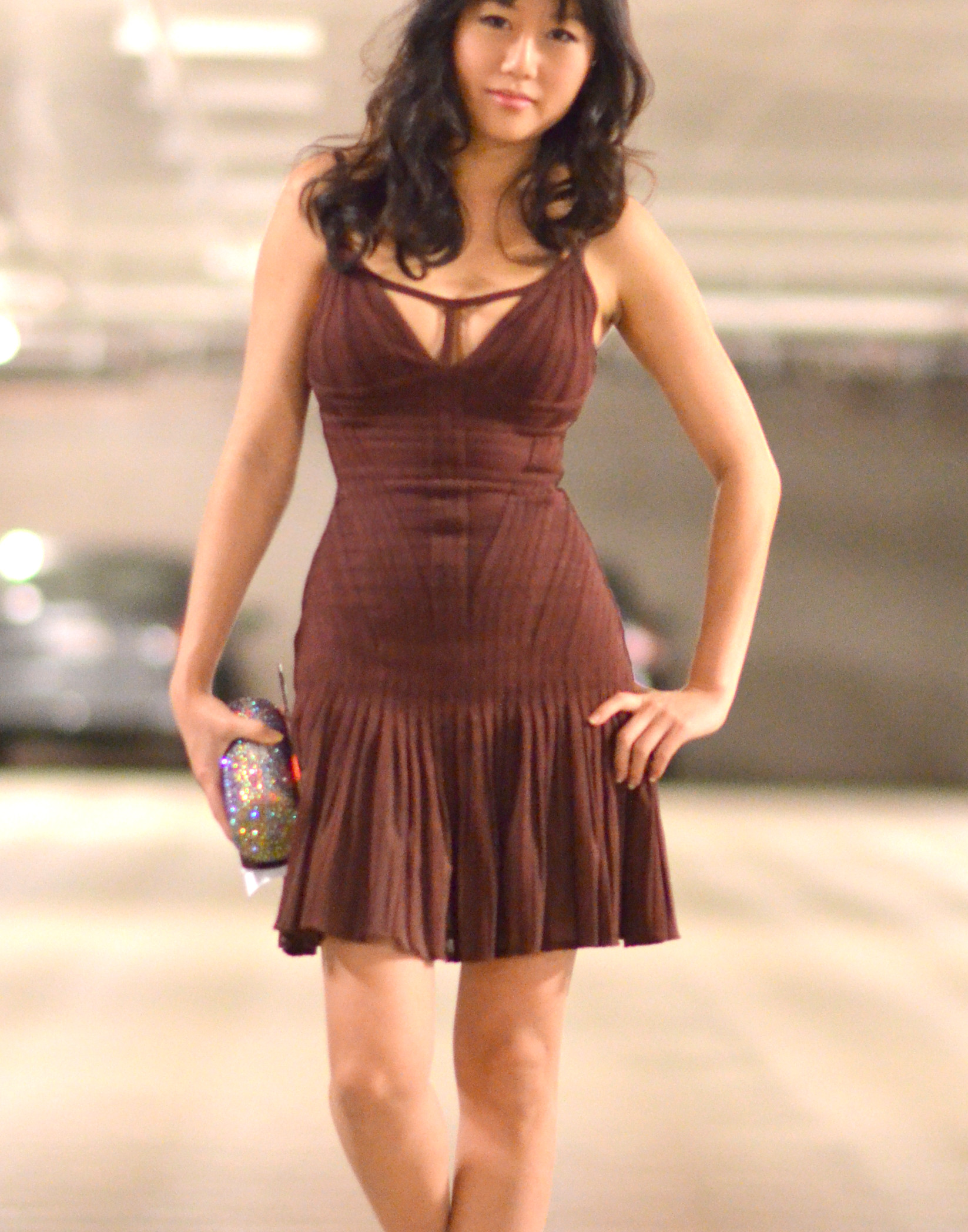 asian girl in herve leger bandage dress